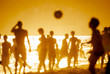 Quadro Abstract Brazilians playing keepy uppy altinho futebol beach football soccer Ipanema Beach Rio de Janeiro