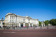 Tourists gather in front of Buckingham Palace, London