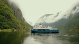 Beautiful Fjord Norway. Summertime in one of the must beautiful fjords in the world. Kodak LUT - 215097071