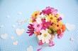 Wildblumenstrauß - Grußkarte bunter Blumenstrauß mit Herzen