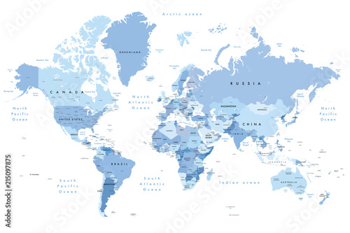 Colourful Illustration of a world map showing country names, State names (USA & Australia), capital cities, major lakes and oceans. Print at no less than 36