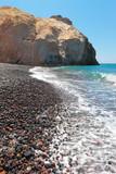 Greece, the famous Black Beach of Santorini, greek Cyclades Islands - 215098819