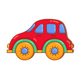 Car toy doodle colorful vector icon - 215098867