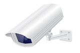 Security camera. White CCTV surveillance system. Looking down - 215100429