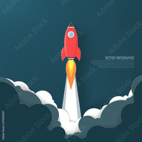 Fototapeta Rocket launch and smoke,Startup concept.