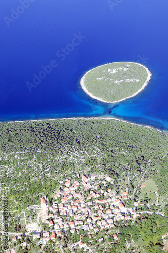 Canvas Donkerblauw Losinj Island Panorama, Croatia, aerial view