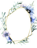 Watercolor floral geometric template with anemone, fern and eucalyptus for wedding cards, invitations, Easter, birthday. Hand drawn illustration - 215108884