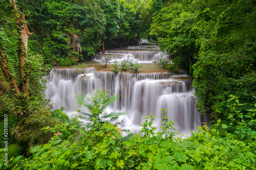 Beautiful waterfall in deep forest, Huay Mae Kamin Waterfall in Kanchanaburi Province, Thailand - 215108807