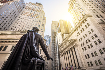 Wall Street in Manhattan New York, USA.