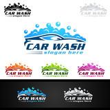 Car Wash Logo, Cleaning Car, Washing and Service Vector Logo Design