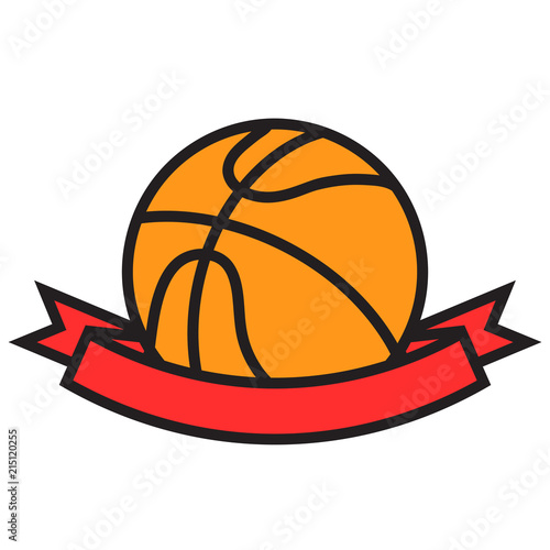 Orange basketball ball with red winner ribbon tape cartoon flat design, stock vector illustration