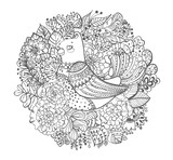 Black and white bird with flowers illustration