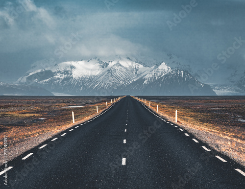 Fotobehang Grijze traf. Street Highway Ring road No.1 in Iceland, with view towards mountain. Southern side if the country.