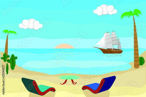 Foto Spatwand Groene koraal Summer Colorful Landscape. Blue Ocean and Sand Beach. Poster for Print in a Flat Style