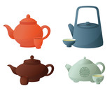 Set of Chinese teapots and caps