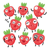 strawberry character vector design - 215181246