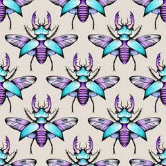 Colorful seamless stag beetles pattern background