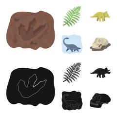 Sea dinosaur,triceratops, prehistoric plant, human skull. Dinosaur and prehistoric period set collection icons in cartoon,black style vector symbol stock illustration web. © pandavector