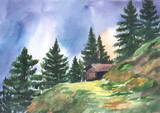 Hand drawn watercolor illustration of landscape. Lonely cabin in the coniferous forest near the path