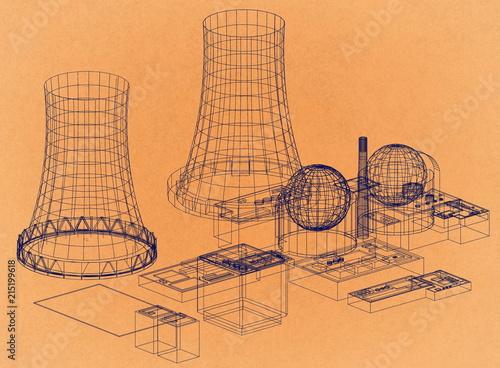 Nuclear Power Plant Nuclear Reactor Retro Architect Blueprint