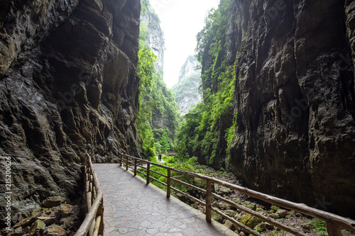 Foto Spatwand Weg in bos Wulong natural bridge park in chongqing china