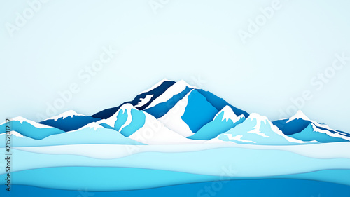 Foto Spatwand Lichtblauw Ice mountain background for artwork - Winter season - Paper cur style or craft style - 3D Illustration