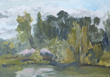 summer landscape with trees with oil paints