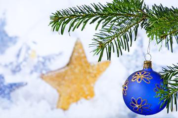 Blue Christmas Ball with Christmas Twig and Star © Václav Mach