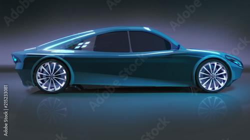 blue modern speed car side study - 215233081
