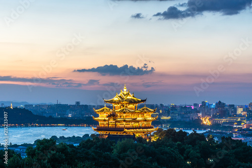 Fotobehang Beige landscape of chenghuang temple in hangzhou china