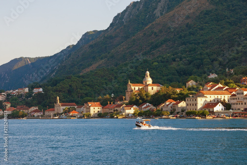 Aluminium Blauwe jeans Beautiful summer Mediterranean landscape. Montenegro, Bay of Kotor, Adriatic Sea. View of ancient town of Prcanj and Birth of Our Lady church