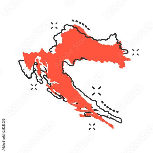 Vector cartoon Croatia map icon in comic style. Croatia sign ...
