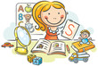 A kids speech therapist with toys, books, letters and a mirror