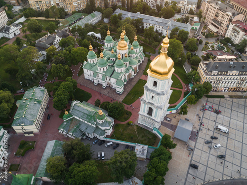 Canvas Kiev Aerial view of Sofievskaya Square and St. Sophia Cathedral in Kiev, Ukraine. Tourist Sight. Ukrainian baroque