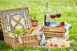 Quadro Picnic outside with a basket and delicious food