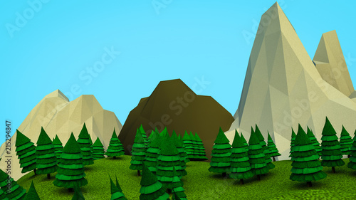 Plexiglas Pool low polygonal Christmas trees and mountains. Landscape. Computer graphics