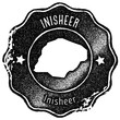 Inisheer map vintage stamp. Retro style handmade label, badge or element for travel souvenirs. Black rubber stamp with island map silhouette. Vector illustration. - 215309610