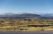 Road view with beautiful blue sky, mountain and grassy field in Iceland - 215314656