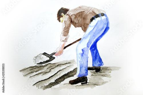 fototapeta na ścianę Acuarela hombre arando tierra con pala