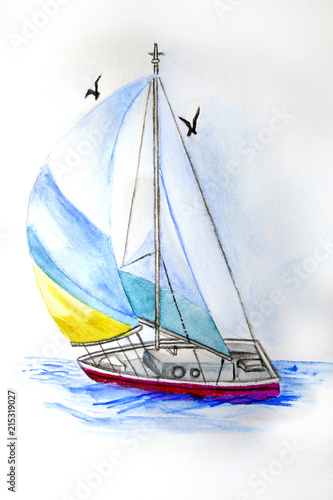 fototapeta na ścianę Acuarela velero en el mar