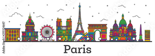 Wall mural Outline Paris France City Skyline with Color Buildings Isolated on White.