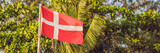 Flag of Denmark against the backdrop of palm trees BANNER, long format