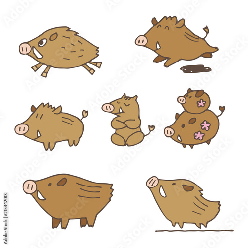手書き 猪のイラスト 年賀状素材 干支動物 Buy Photos Ap Images