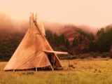 American native tent camp teepees - 215343209