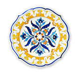 Ceramics decorative plates, Islamic plate with mandala pattern, View from above isolated on white background with clipping path