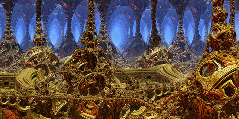 Fantastic background 3d abstract structures, fictional background. © Cobalt