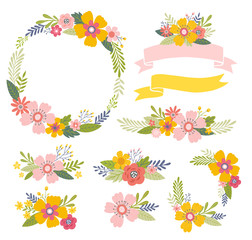 Vector flowers set. Colorful floral collection including floral bouquets, posies, ribbons and floral wreath. Floral design elements.  © mgdrachal