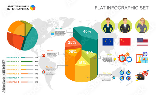 Foto Spatwand Wereldkaarten International business percentage and pie charts template for presentation. Abstract elements of diagram, graphic. Progress, economy, management or statistics creative concept for infographic.