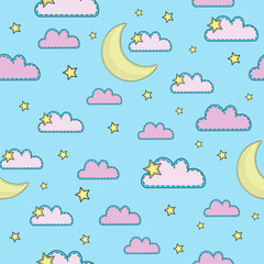 Cartoon Seamless Pattern Color Vector Illustration SKY Paper for Birthday and Party, Wall Decorations, Scrapbooking, Baby Book, Photo Albums and Card Print © FARAWAYKINGDOM