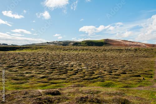 Canvas Blauw Texturas e padrões na bonita paisagem da Islândia